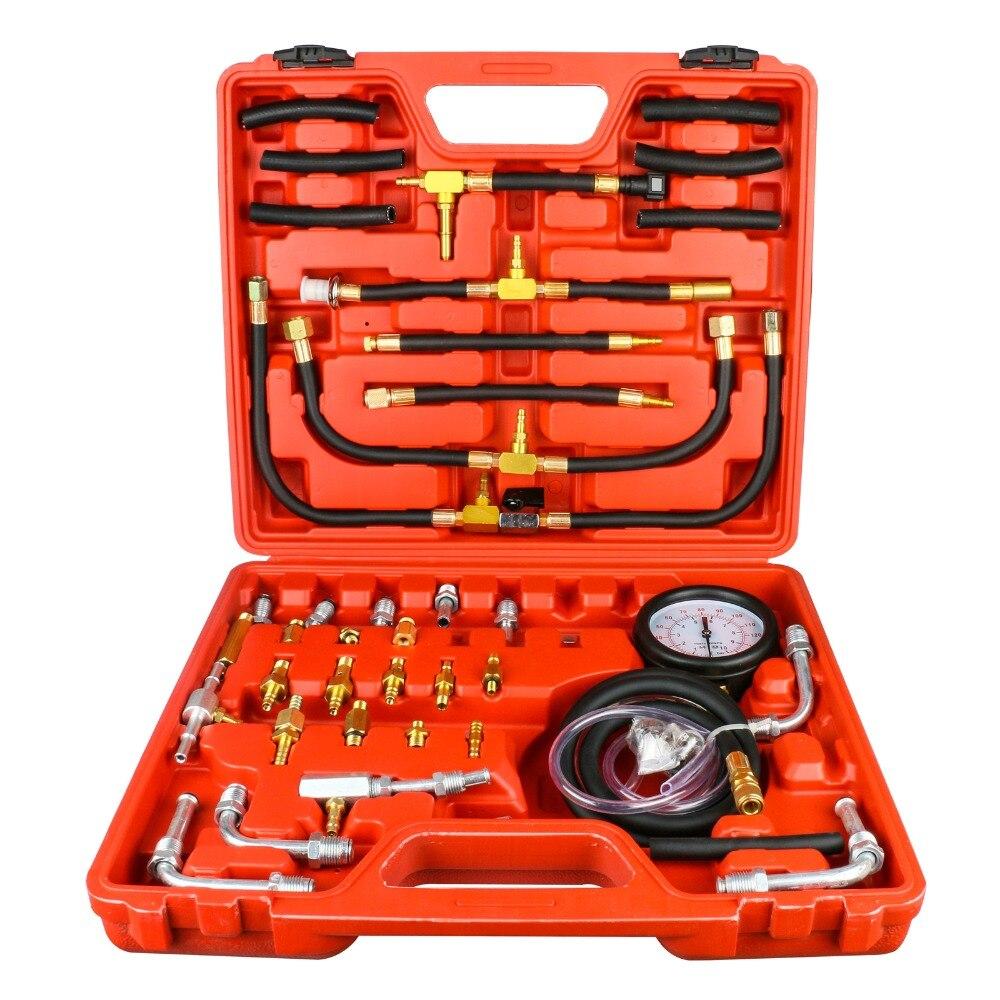 TU-443 Universal Car Fuel Diesel Pressure Tester Gasline Injector Pump Pressure Gauge Kit  Fuel Pressure Tester 0-140PSI