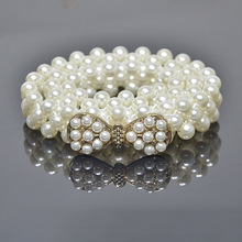 2019 Luxury White Simulated Pearl Beaded Ladies Belt Shiny Rhinestone Bowknot Buckle Waist Pearl Chain Belts Women Accessories футболка классическая printio властелин колец