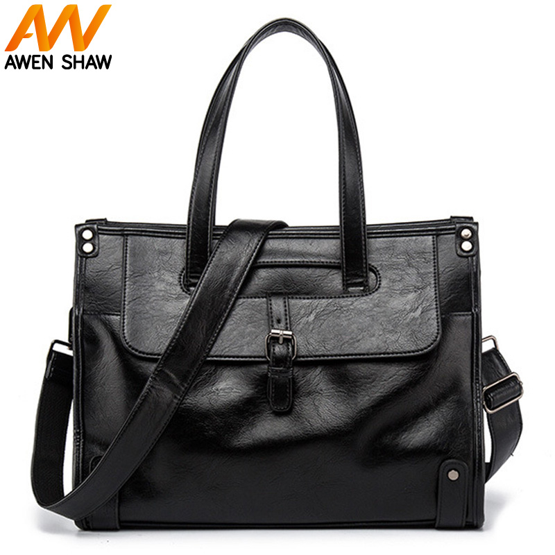 Business Black Formal Man Leather Handbag Male OL Shoulder Bags Large Capacity Laptop Bag Men Vintage Briefcase bolso hombre qibolu vintage large capacity handbags men shoulder tote bag for travel business sacoche homme bolso hombre bolsa masculina 6002