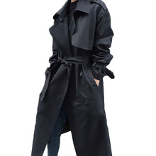 2019 Spring Autumn New Korean Trench Coat Women's With Belt Loose Black Windbrea