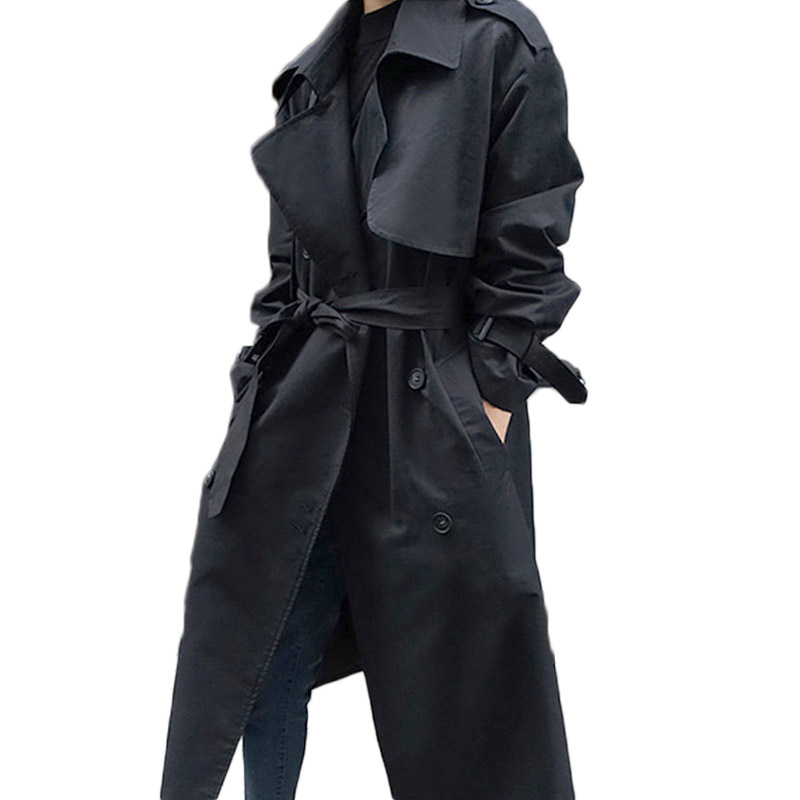 Spring Autumn Trench Coat Women's New Korean Belted Outwear Loose Black Windbreaker Slim Casual Classic Mujer Chaqueta F1135