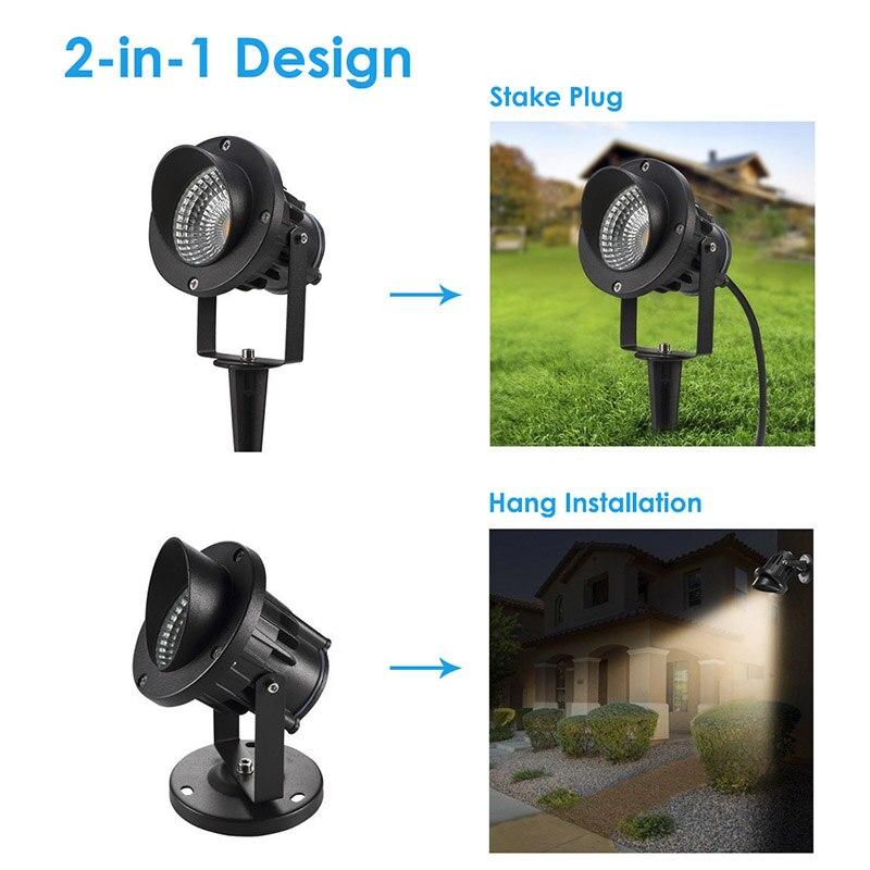 5W COB LED Garden Light Waterproof Outdoor Landscape Spotlight with Spike for Wall Lawn  ...
