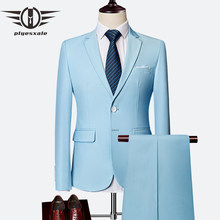 Plyesxale Two Piece Suit For Men Sky Blue Gray White Men Suits For Wedding Tuxedo Slim Fit Mens Suits With Pants Burgundy Q64(China)