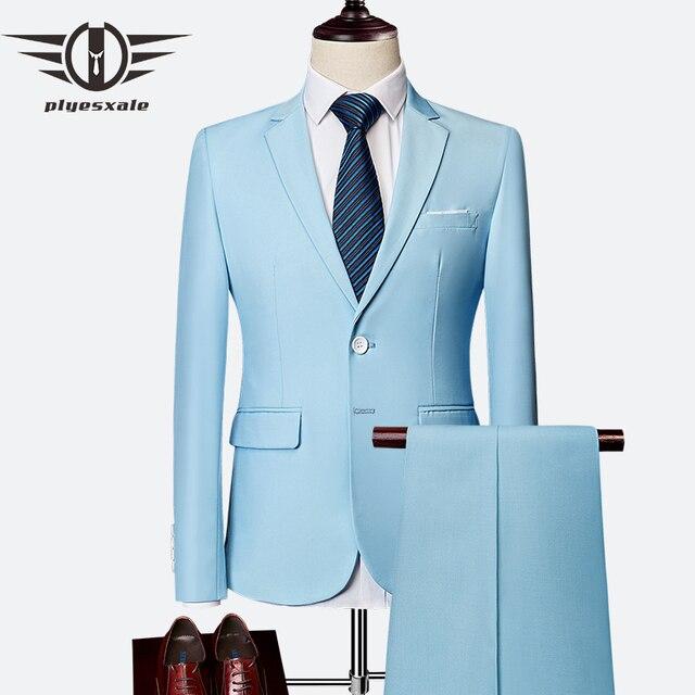 1c18e3679efa2 Plyesxale dwuczęściowy garnitur dla mężczyzn niebo niebieski szary biały garnitury  męskie na ślub Tuxedo Slim Fit