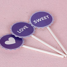 JOINHOT sweet and heart and lover cupcake topper for cake decoration purple color 3 pcs/pack(China)
