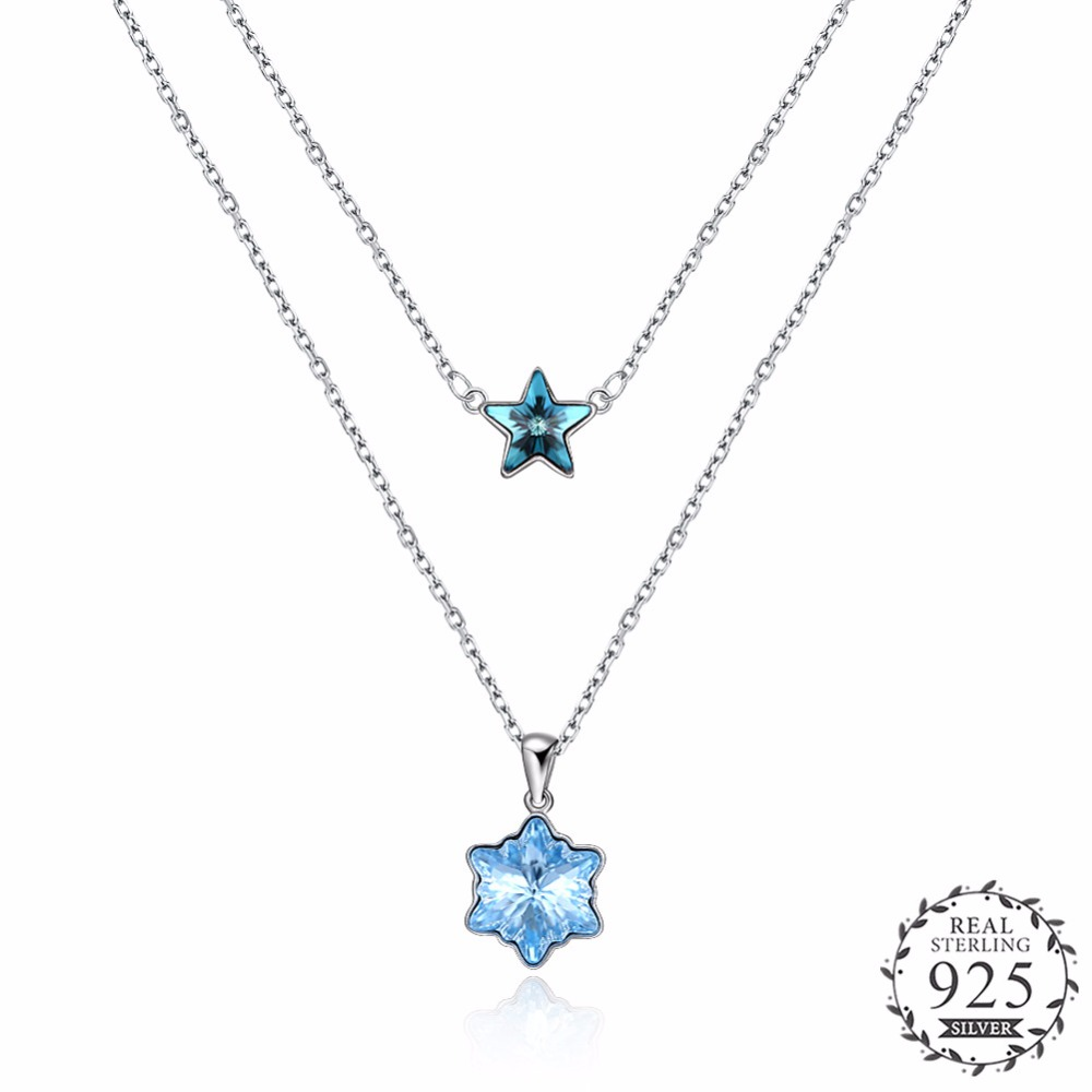 Shining Star with Blue Crystal Pendant Choker Necklace Real 925 Sterling Silver 2 Lines Star Pendant Chain Necklace Gift N257. concise and cute bronze star pendant necklace