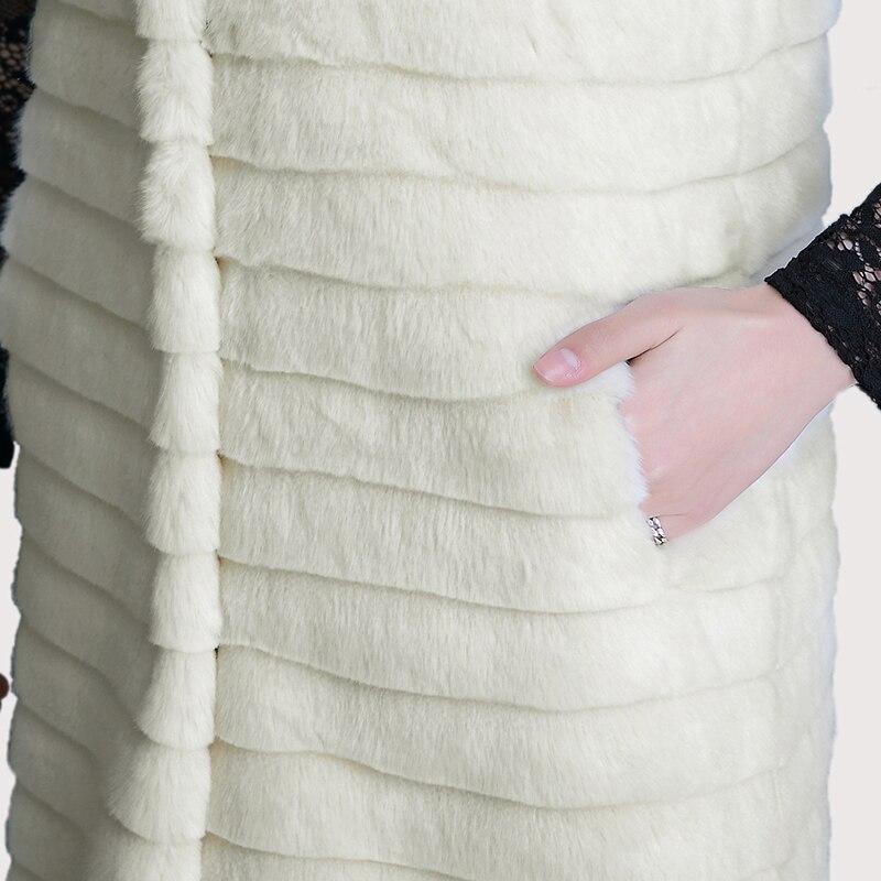 Fourrure En Plus 6xl Longues La Blanc Manches Hiver Rayé Femmes Fausse Taille Off Nerazzurri Veste Gilet 5xl tR0qTxn5w