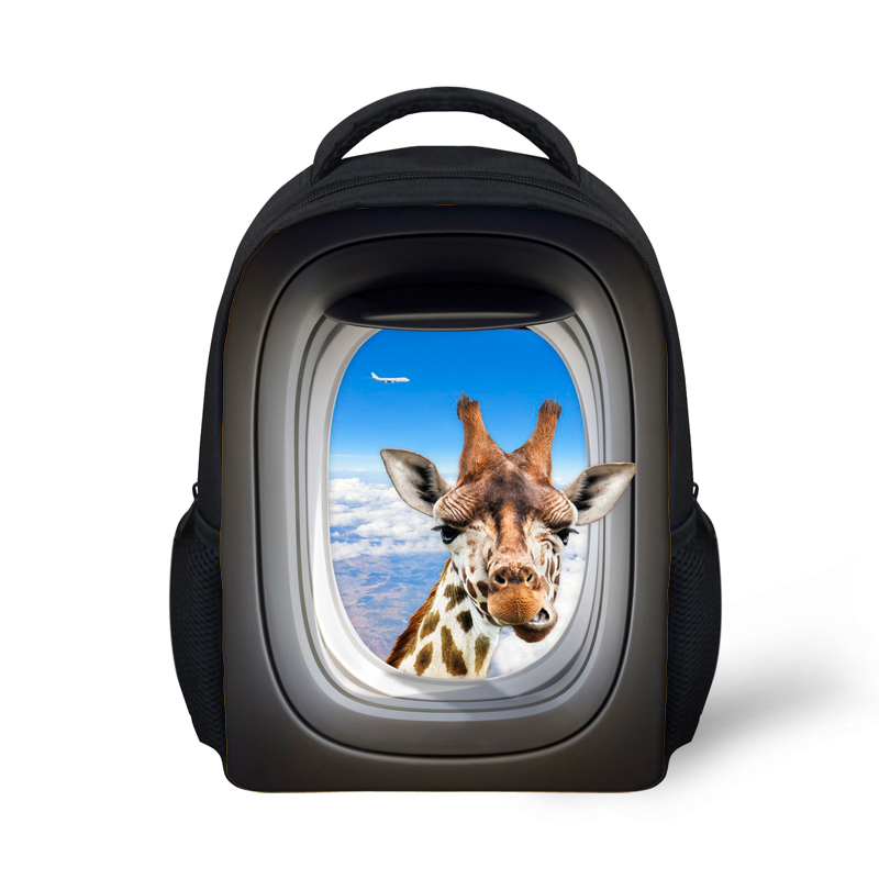 Mochila Animal Giraffe Crazy Horse Children's Schoolbags Kindergarten Baby Girls Boys School Bags Brand Design Kids Book Bags