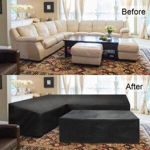 Image 3 - Meble ogrodowe rattanowe narożne pokrycie zewnętrzne V kształt wodoodporna Sofa Protect Set pokrowce na sofy pokrowiec na meble ogrodowe