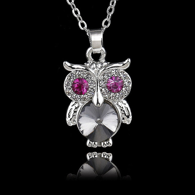 Fashion lovely crystal pink eye owl pendant necklace silver color fashion lovely crystal pink eye owl pendant necklace silver color cute animal necklaces pendants women girls aloadofball