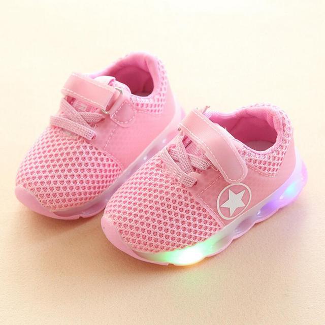 8a0ec7b0365dc Eur21-25 Children Shoes With Light Led Enfant Sneaker Girls Tenis Sports  Breathable Boys Trainer