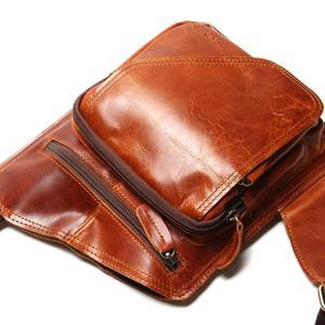 Image 4 - Yeni yüksek kalite Vintage rahat çılgın at deri hakiki inek derisi erkek göğüs çantası küçük postacı çantası adam için