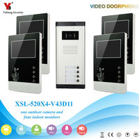 Yobang Security One to Four Video Doorphone Video Apartment Door Phone Security System Video&Audio Home Intercom For 4 Rooms