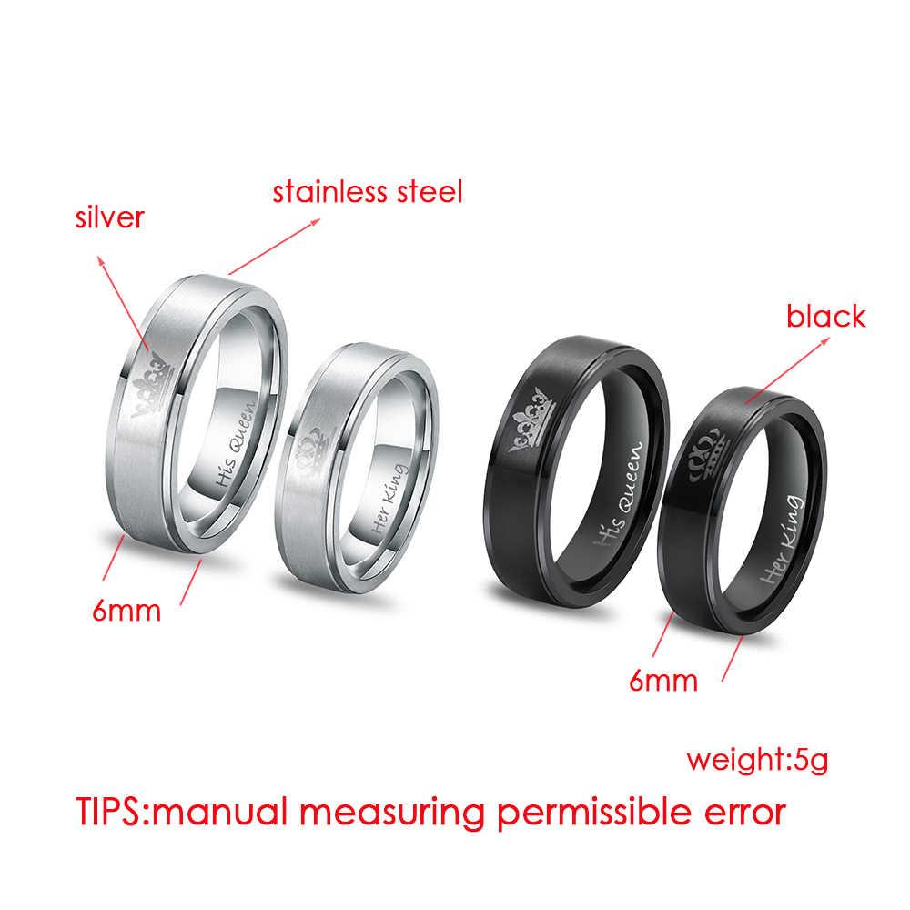 1 PC Chic Ring Roestvrij Staal ZIJN KONINGIN en HAAR KONING paar ringen voor liefhebbers Trouwringen Paar Sieraden Engagement beloven