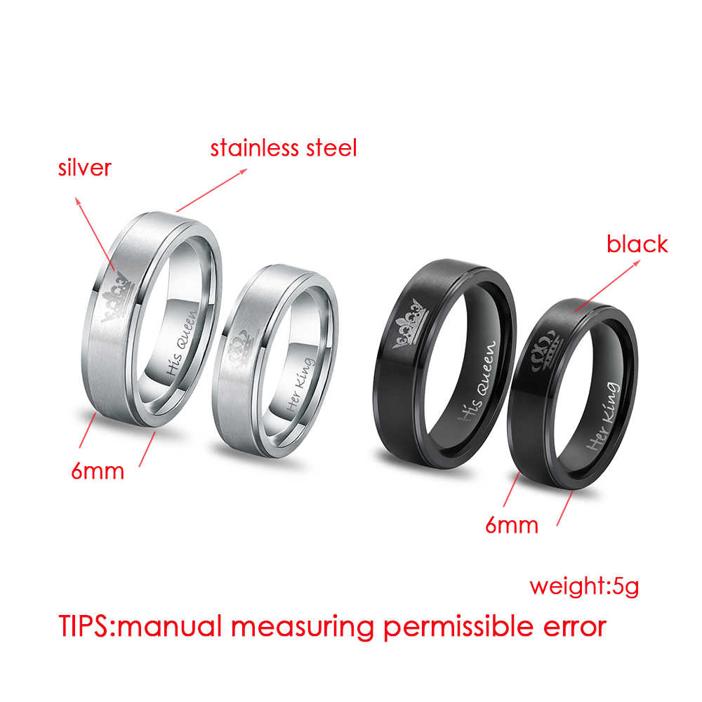 1 PCs Stainless Steel Ring HIS QUEEN HER KING Couple Rings for Lovers Men Women Wedding Band Ring Jewelry Engagement Promise