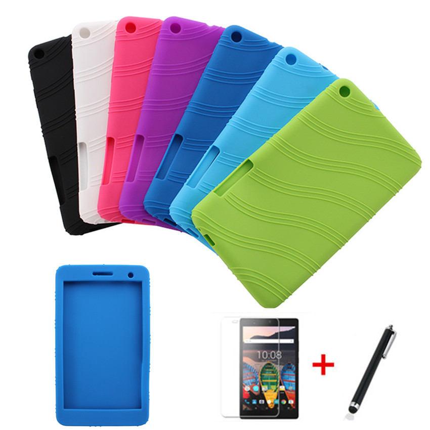 For Huawei Mediapad T1 7.0 Screen Tablet T1 701U BGO-DL09 Lte T1-701UA Rubber Back Case T1-701U Soft TPU Silicone Cover+Film+Pen