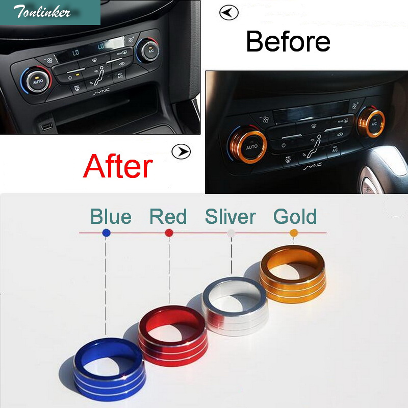 Tonlinker 2 PCS DIY Car styling New Aluminum Air conditioning knobs decorative circle Cover Case stickers For Ford Focus 2015 universal black 3 76mm polished aluminum fmic intercooler piping kit diy pipe length 600mm for ford focus 98 12 ep lgtj76 600