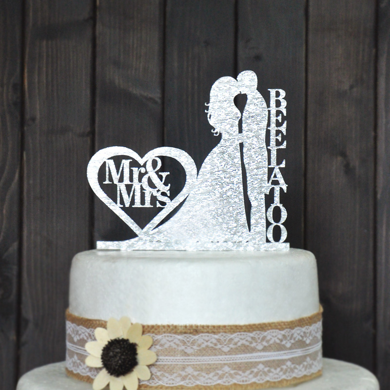 Personalized Wedding Cake Topper Wedding Decoration Acrylic silver