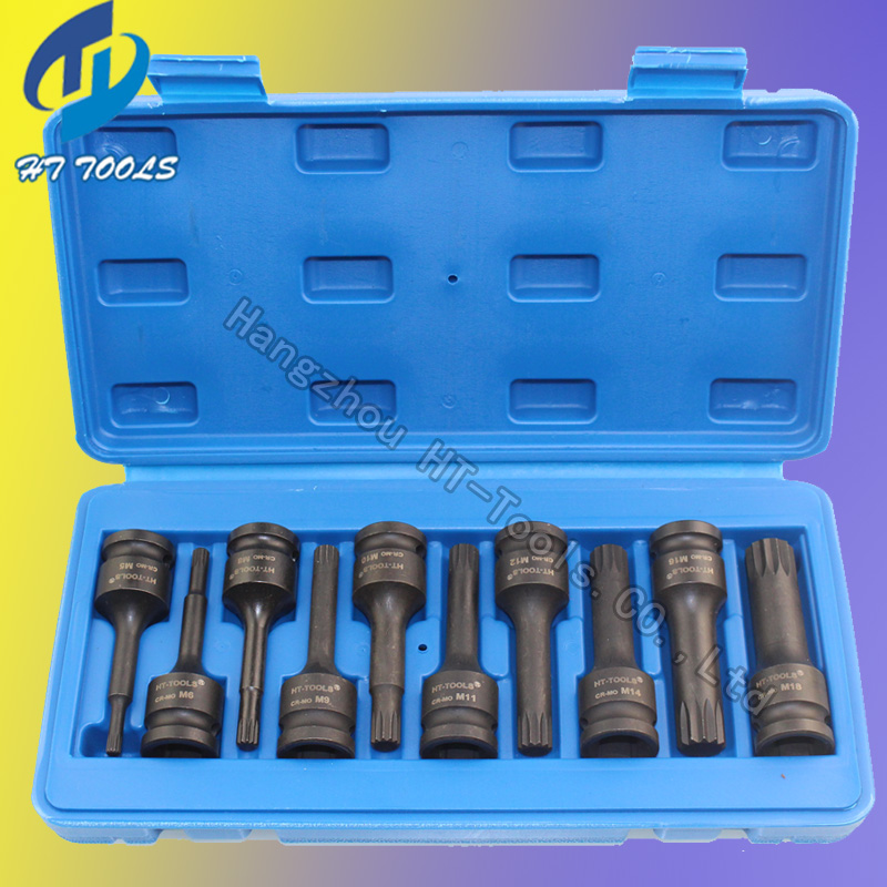 10pcs 1/2 DR.Impact Spline Bit Socket Set M5 M6 M8 M9 M10 M11 M12 M14 M16 M1878mm length brand new 10pcs 12 point mm triple square spline bit socket set for tamper proof lug nuts cylinder head bolt