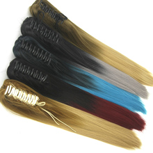 DELICE Long Straight Claw Ponytails Ombre Color Heat Resistant Synthetic Hair Pony Tails Extensions For Women