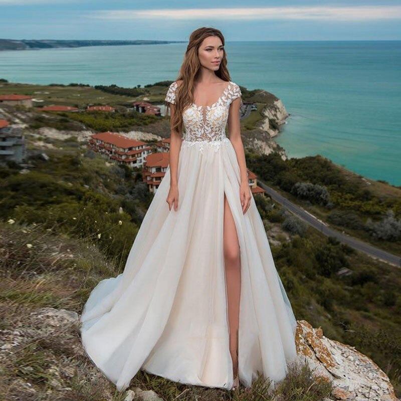 Eightale Beach Wedding Dresses Appliques Lace Side Split Sexy Wedding Gown A-Line  Bride Dress Suknia Slubna