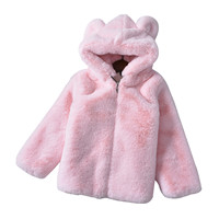 80 150cm New Kid's Winter Clothing Faux fur Hooded Coats baby girl winter clothes new autumn/winter children sweaters Furry Coat