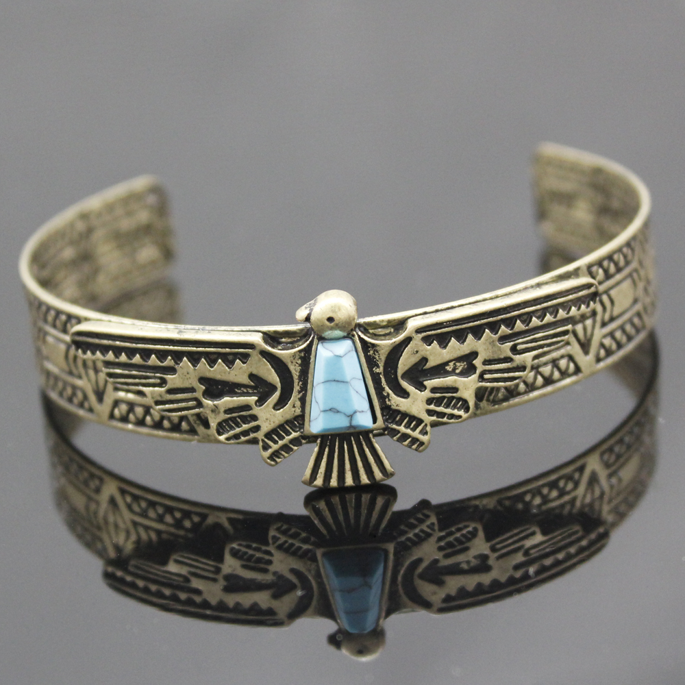 Vintage Gold Silver Antique Carve Eagle Navajo Bracelets For Women Bangles Pulseiras Cuff Native American Indian Men Jewelry In From