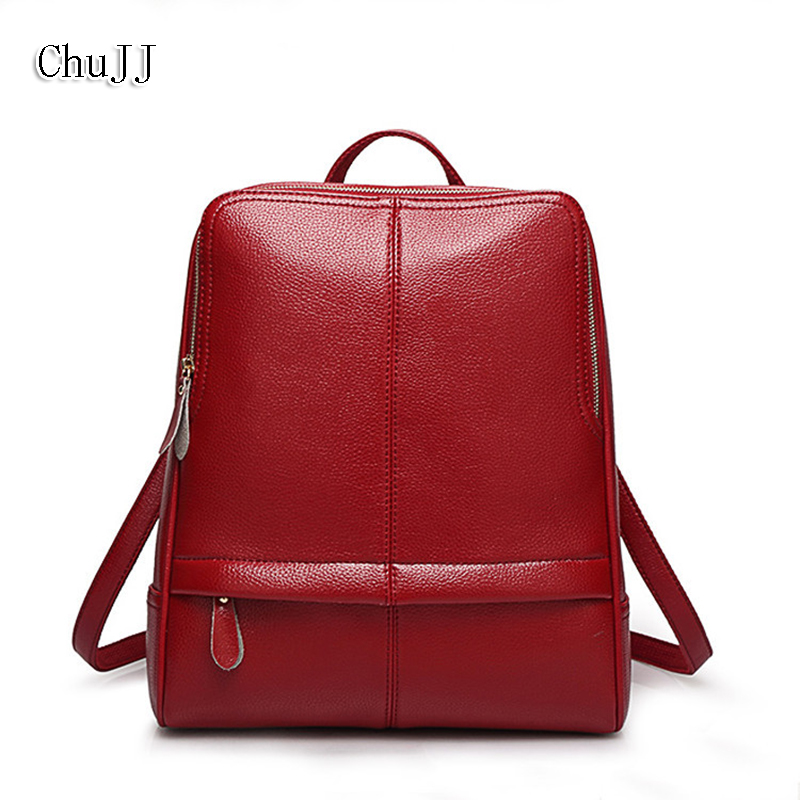 Chu JJ Designer High Quality Fashion Women Genuine Leather Backpacks Girl School Bag Laptop Travel Bag Female Shoulder Bags new gravity falls backpack casual backpacks teenagers school bag men women s student school bags travel shoulder bag laptop bags