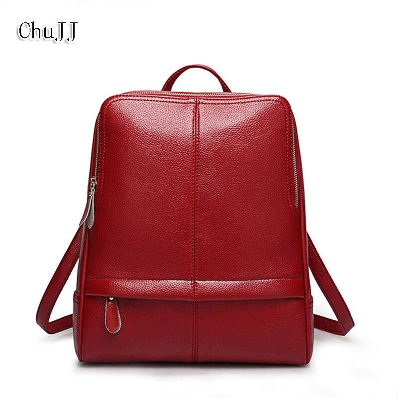 Chu JJ Designer haute qualité mode femmes sacs à dos en cuir véritable fille sac d'école ordinateur portable sac de voyage femme sacs à bandoulière