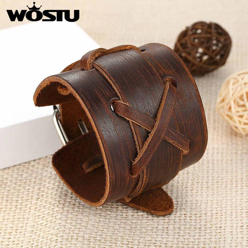 100% prawdziwej skóry Wrap Vintage brązowy bransoletka i bransolety mankiet podwójna szeroka biżuteria dla kobiet mężczyzn Unisex prezent