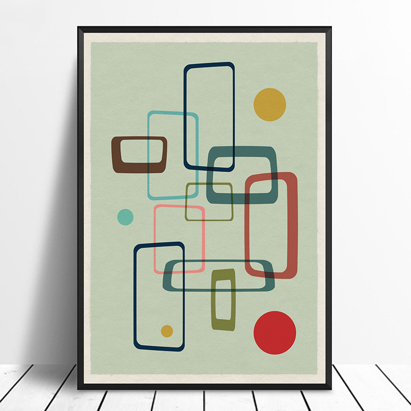 Mid Century Modern 05 Geometric Retro Minimalist Art ...