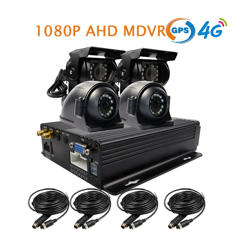 Free Shipping NEW 4 Channel GPS 4G 1080P AHD 256GB SD Car DVR MDVR Video Recorder + Rear Side View Car Camera for Truck Van Bus 4 channel 256g sd car vehicle dvr mdvr video recorder kit cctv rear view camera dome camera for truck van bus free shipping