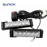 Free Shipping 2x 6 LED Car Police Strobe Flash Light 10 Modes Auto Warning Light 12W