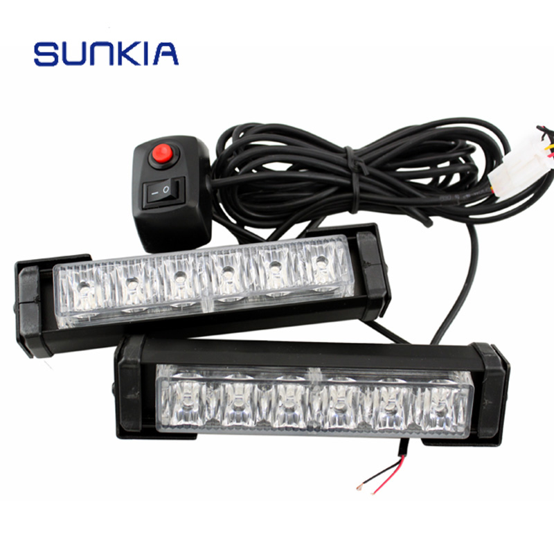 SUNKIA 2Pcs/Set 6 LED Car Police Strobe Flash Light 10 Modes Auto Warning Light 12W High Power Caution Lamp Free Shipping