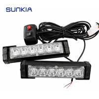 Free Shipping 2x 6 LED Car Police Strobe Flash Light 10 Modes Auto Warning Light 12W