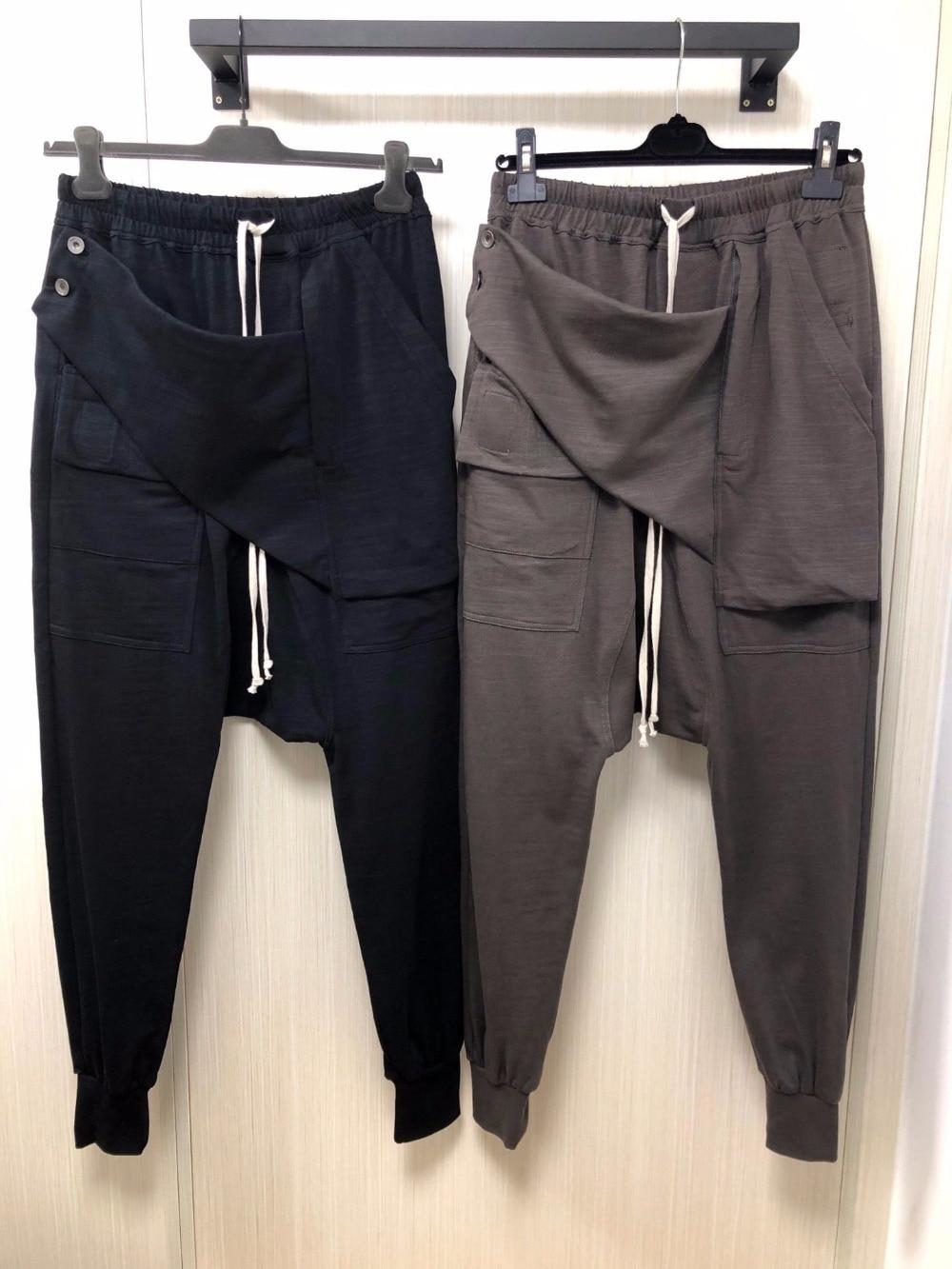 Erkek Kıyafeti'ten Harem pantolon'de Owen Seak Erkekler Rahat harem pantolon Pamuk Gotik erkek giyim Sweatpants Yaz Kadın Çapraz Tam Uzunlukta Gevşek Siyah Pantol'da  Grup 1