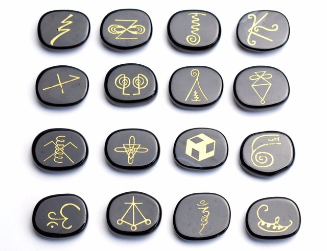 16 Pieces Natural Chakra Black Obsidian Engraved Crystal Reiki