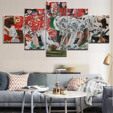 Top-Rated HD Printing Rugby Player Abstract Type Poster 5 Panels Painting Modular For Modern Decorative Bedroom Living Room