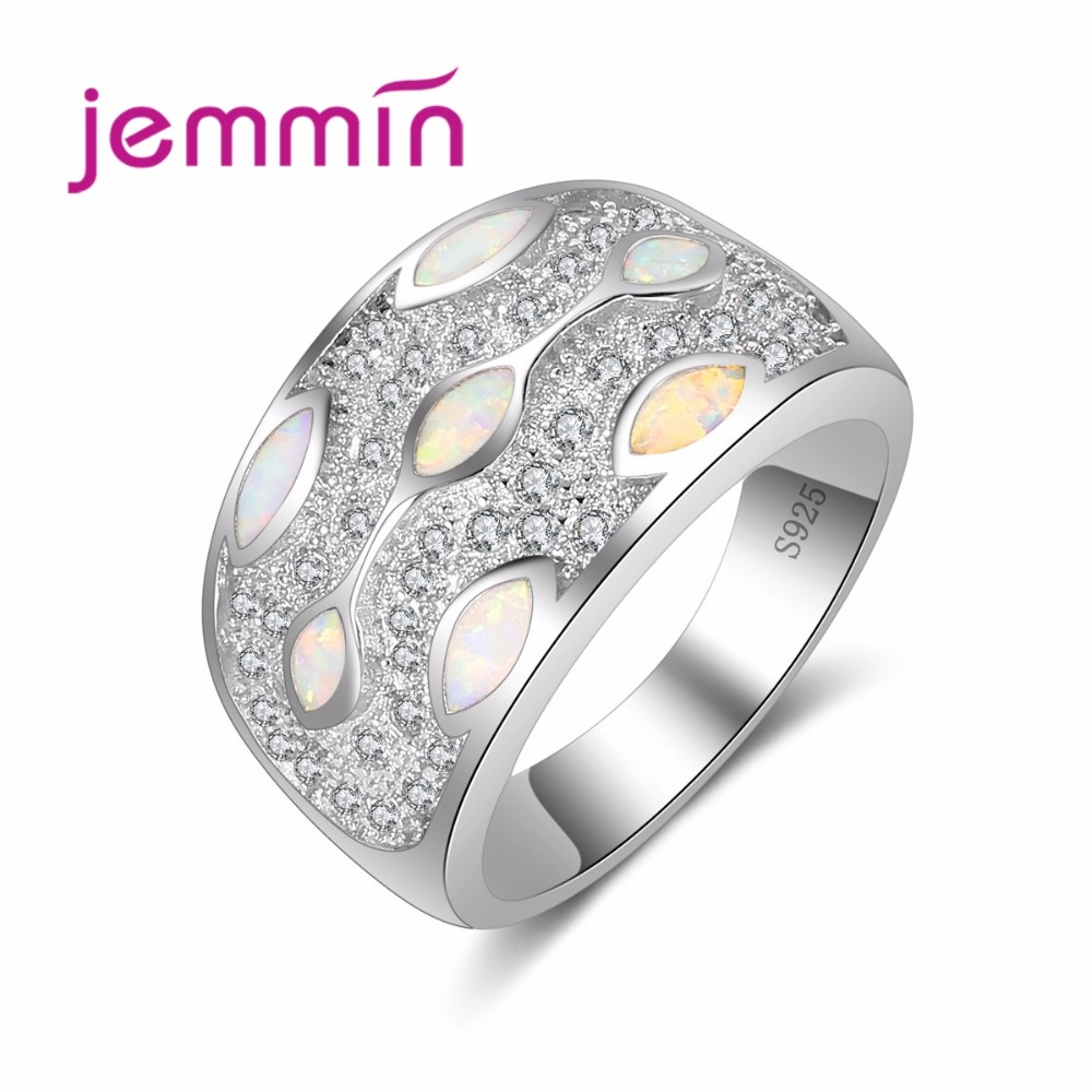 Wide Verge Women Female Party Wedding Jewelry 925 Sterling Silver Finger Ring With Full AAA Opal Shiny CZ