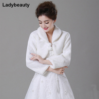 Free Shipping New 2015 Wholesale Faux Fur Wedding Bridal Wrap Shawl Wedding Jackets Wrap Coat Bolero