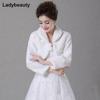 Free Shipping New 2015 Wholesale Faux Fur Wedding Bridal Wrap Shawl Wedding Jackets Wrap Coat Bolero