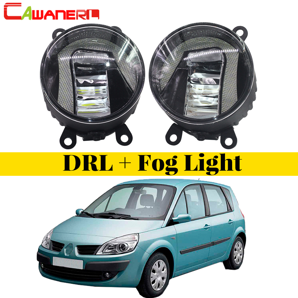 Cawanerl For Renault Scenic 2003-2015 2 Pieces Car Styling LED Fog Light Bulb Daytime Running Lamp DRL White 12V High Bright