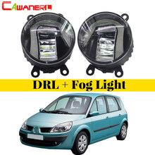 Cawanerl For Renault Scenic 2003-2015 2 Pieces Car Styling LED Fog Light Bulb Daytime Running Lamp DRL White 12V High Bright(China)