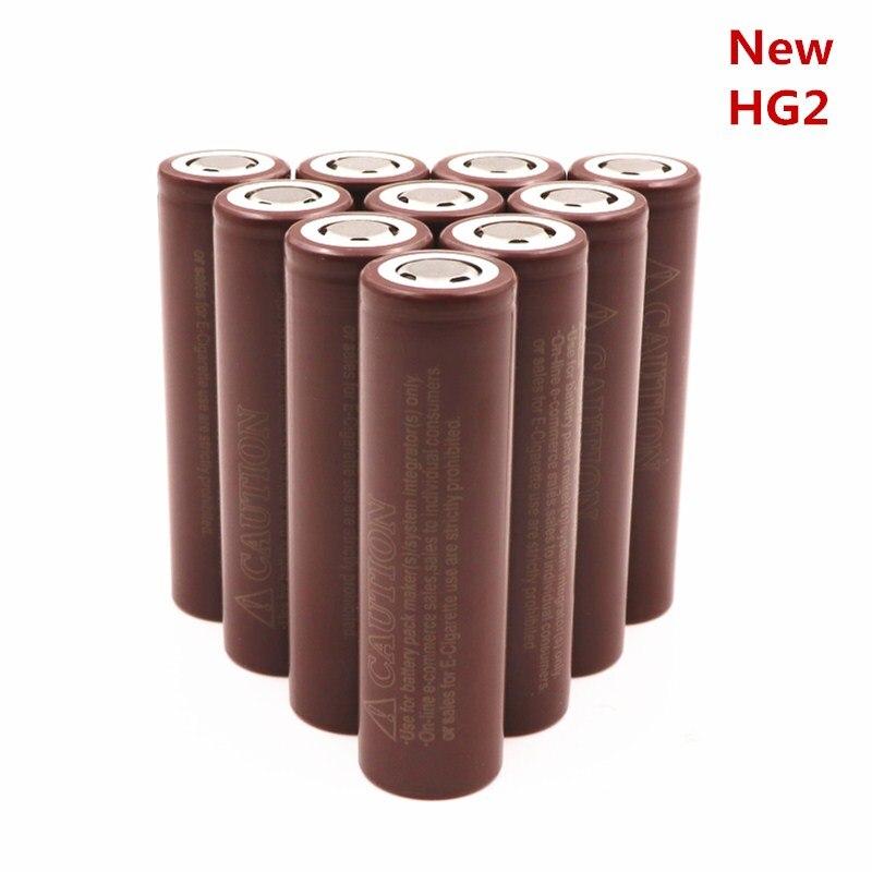 100% original HG2 18650 bateria 3000 mah Baterias de Cigarro Eletrônico Recarregável de Alta 30A Grande Corrente de Descarga De Energia