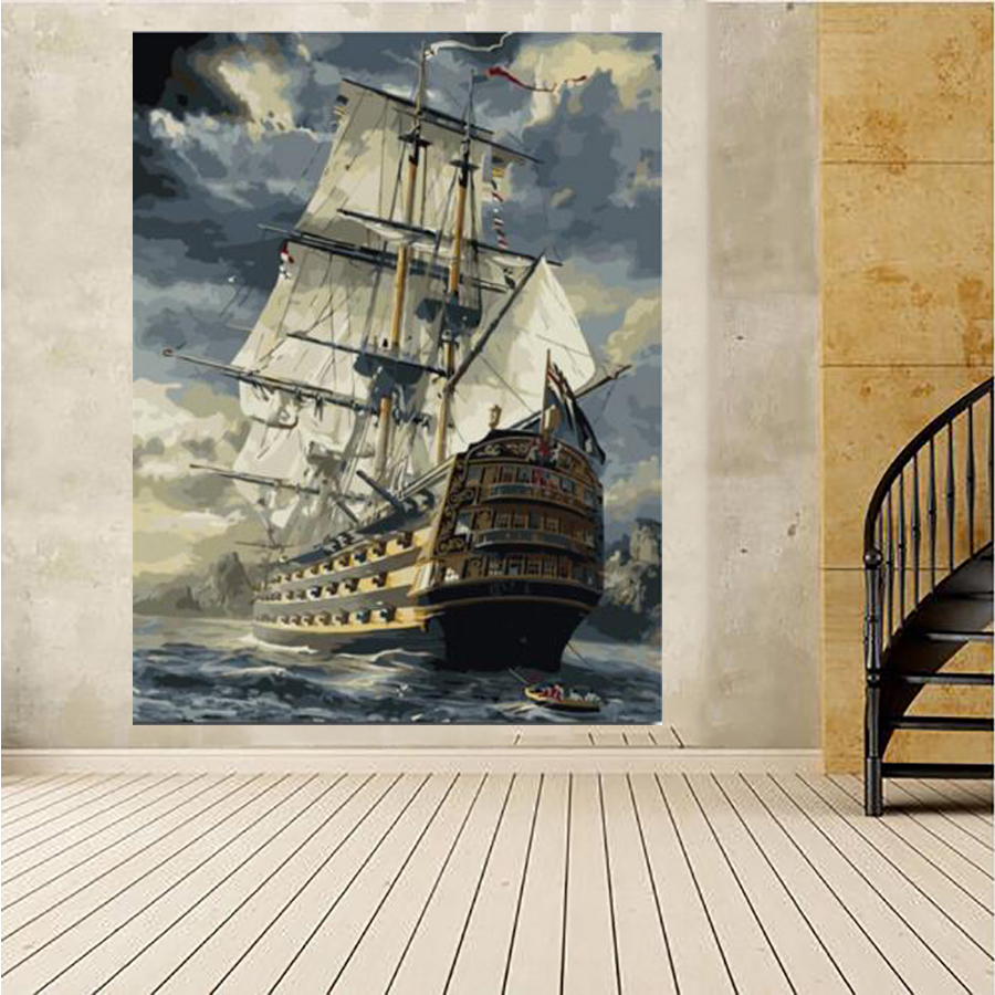 DIY full square Diamond 5D Diamond painting Caribbean, boat ship Embroidery Cross Stitch 3D Rhinestone mosaic