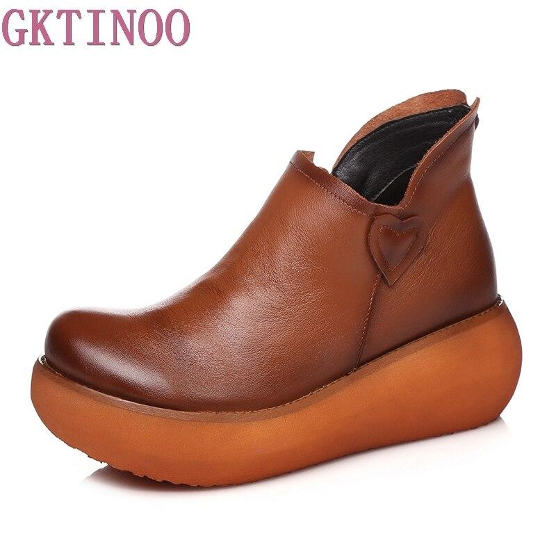 Novas Outono das Mulheres da Plataforma de Couro Genuíno Cunhas Sapatos de Senhora Sapatos de Salto Alto Mulher Bombas Artesanais Sapatos Mãe