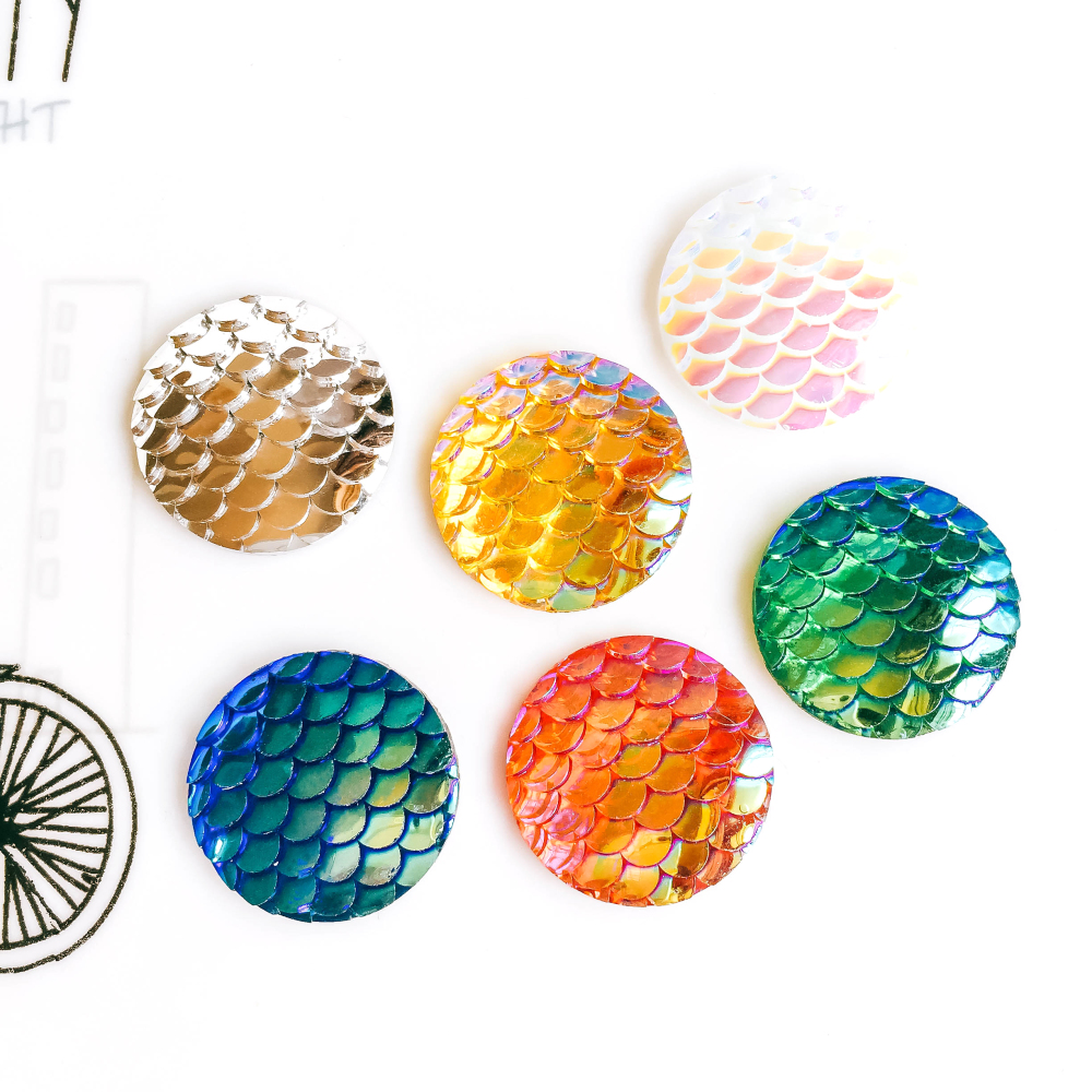 ZEROUP 20mm 25mm Resin Cabochons Round Fish Scales Cameo Flat Back Cabochon Supplies For Jewelry Finding 10pcs