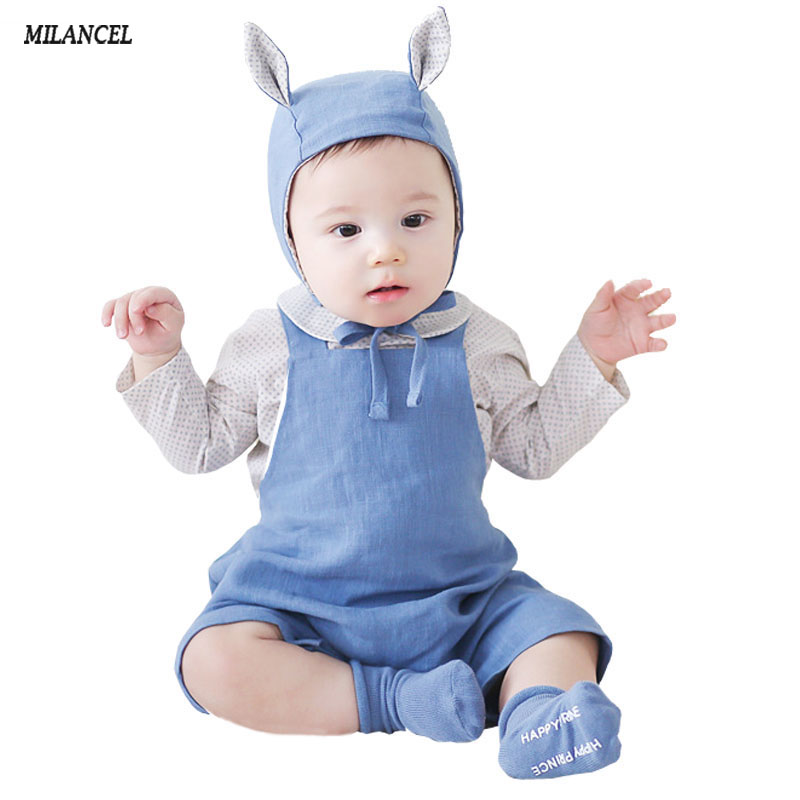 2018 Summer Baby Rompers Newborn Baby Boys Clothes Infant Girls Jumpsuit Cotton Linen Baby Girls Romper Summer Overall 2 Colors