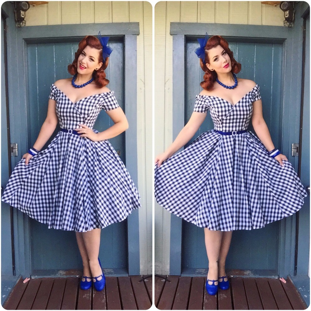30 summer women vintage 50s gingham off shoulder boat neck swing dress  rockabilly pinup vestidos plus size dresses jurken robe-in Dresses from  Women s ... b3c655a0b067