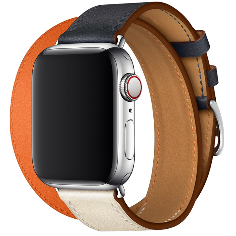 For Apple Series 4 Watchbands Genuine Leather Double Tour Wrist Strap Colorful Bracelet For Apple Watch 1 2 3 Band 38-42-40-42mm цена